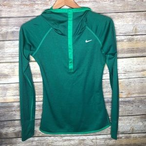 Nike running wool hoody green dri-fit pullover S